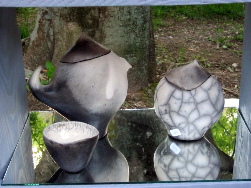 sucrier raku nu, théière et bol terre polie enfumée raku